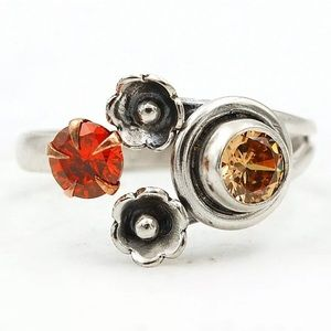 Jewelry - Two Tone Padparadscha Sapphire & Garnet 925 Ring